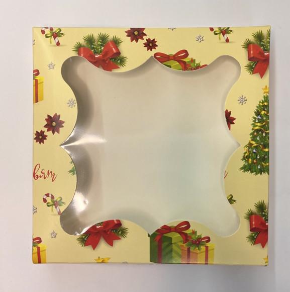 Коробка для пряників з віконцем 155*155*30 (Ялинка)