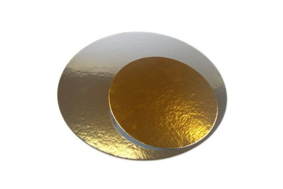 Підложка під торт кругла Золото/Срібло 230мм
