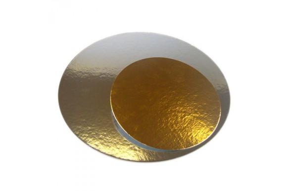 Підложка під торт кругла Золото/Срібло 250мм