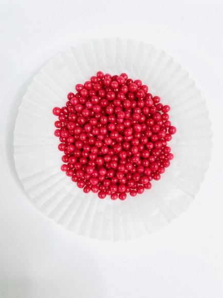 Цукрові кульки червоні 4 мм 25гр.