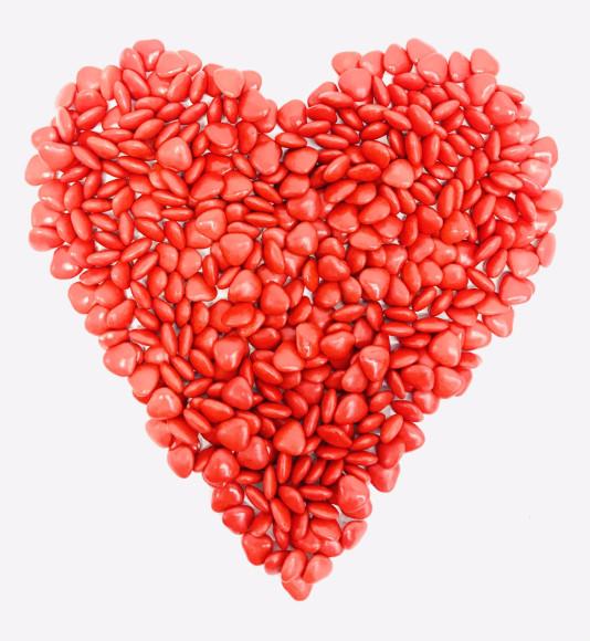 """Драже з молочного шоколаду """"Червоні серця"""" 50 грам"""