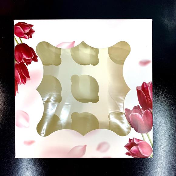 Коробка для мафінів з віконцем на 9 шт. 260*260*90 Тюльпан