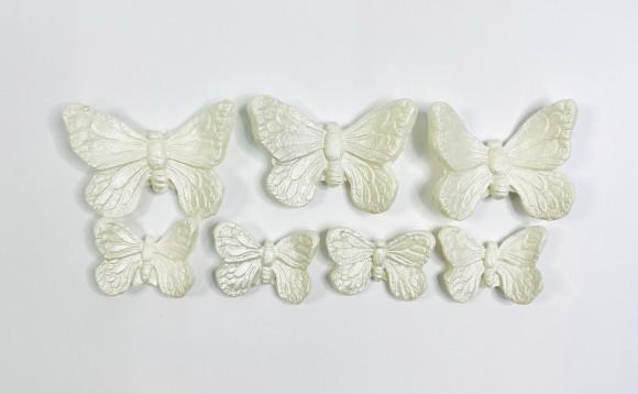 Метелики преміум срібні 7шт