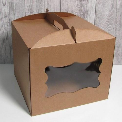 Коробка для торта з віконцем 300*300*250 мм (Бура)