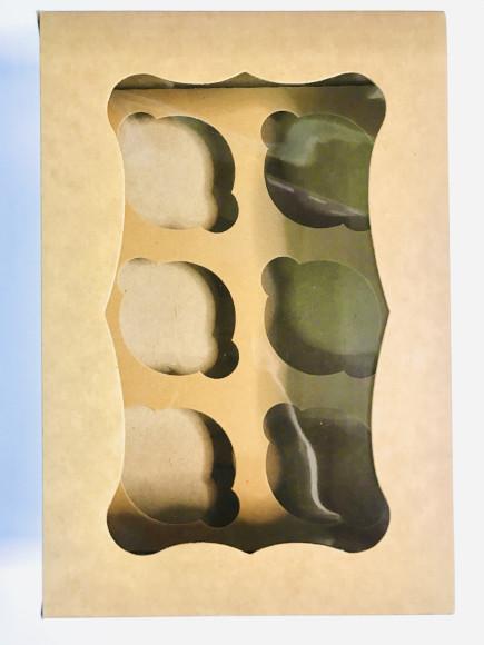 Коробка для мафінів з віконцем на 6 шт. 250*170*80 Бура