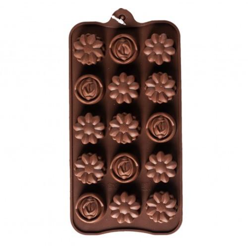 Форма силіконова для шоколаду Квіти асорті